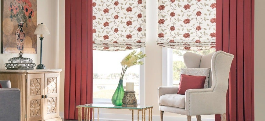 Draperies with Roman Shades