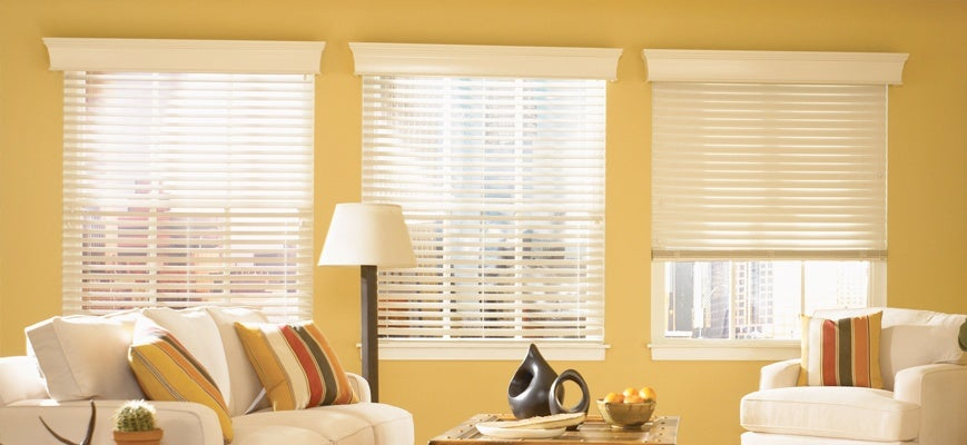 Faux Wood Blinds in Sunroom