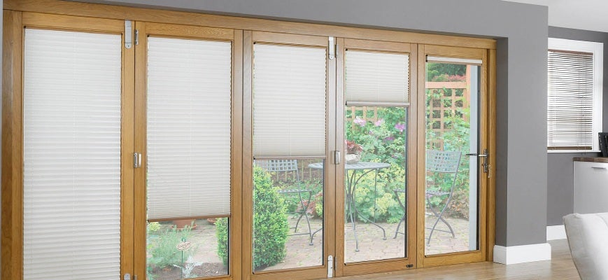Cordless Pleated Shades for Patio Doors