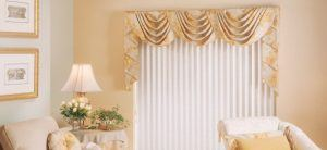 Vertical Shades with Curtains for Patio Doors
