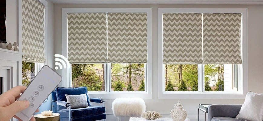 Custom Motorized Roman Shades
