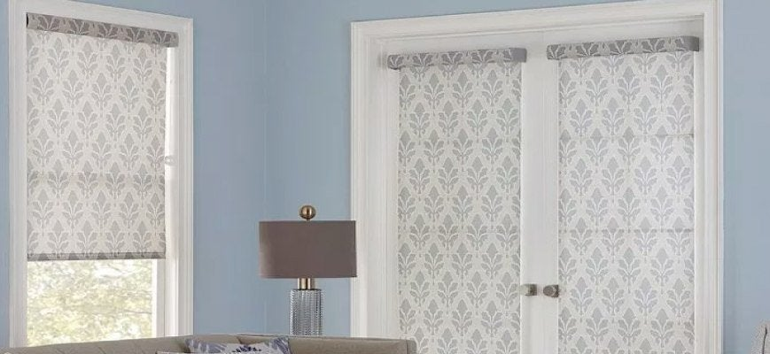 Fabric Roller Shades for French Doors