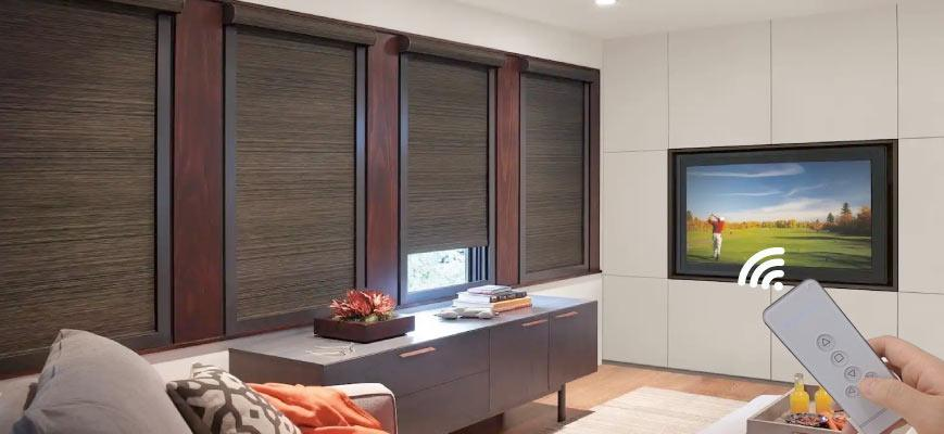 Electric Motorized Shades for Media Room