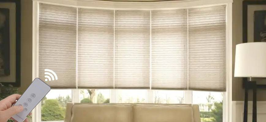 Motorized Cellular Shades for Bay Windows