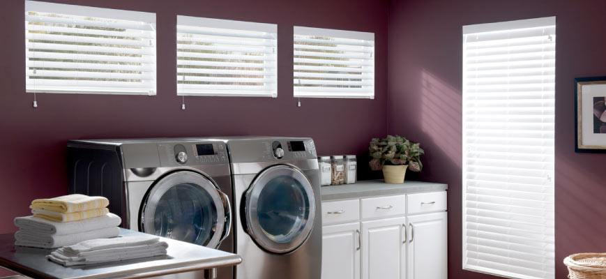 Faux Wood Blinds for Laundry Room