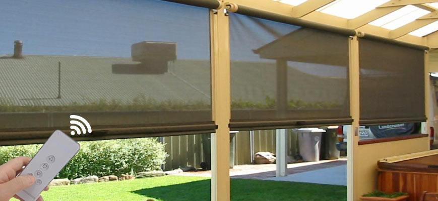 Remote Control Roller Shades for Porch