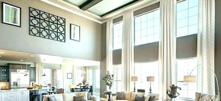 High Ceiling Window Treatments for Living Room