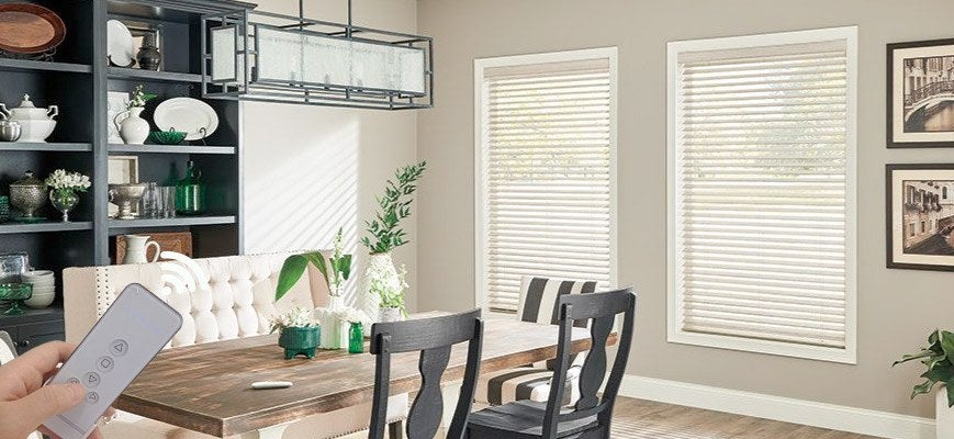 Motorized Wooden Blinds for Living Room
