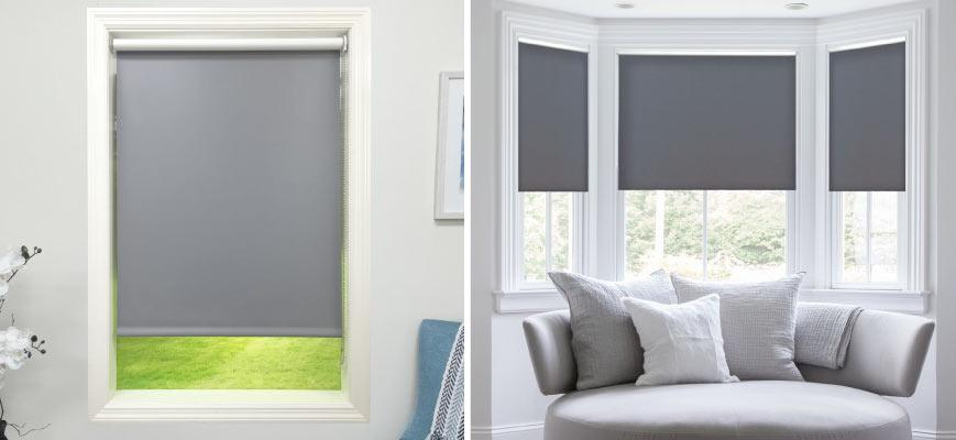 Gray Roller Shades for Living Room