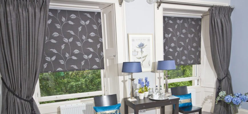 Gray Roller Shades with Drapery