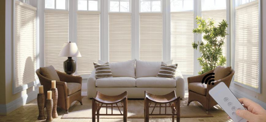 White Electric Wooden Blinds for Living Room