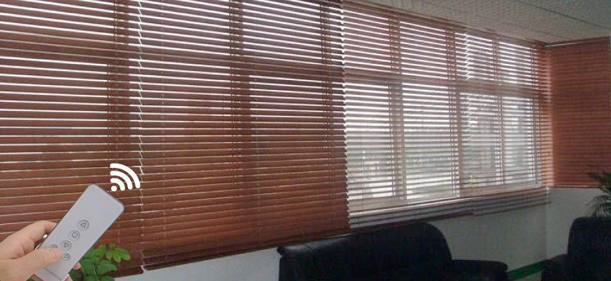 Remote Operated Wood Blinds