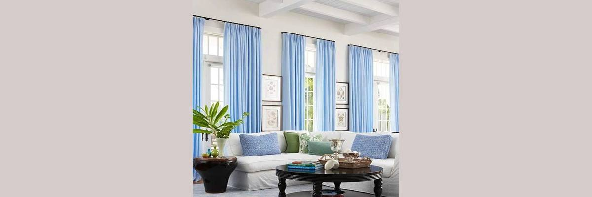 Blue Curtains for White Walls