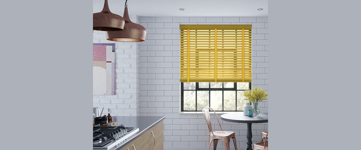 Yellow Mini Blinds for Kitchen