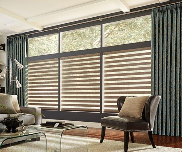 Graber Motorized Mezzanine Layered Zebra Sheer Shades - www.zebrablinds.ca
